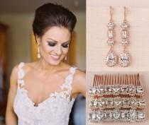 wedding photo - Bridal Hair Comb, Bridal Earrings, Gold, Rose Gold, Crystal Hair Comb, Hair Clip, Hair comb and Earring SET, Julienne Hair Comb