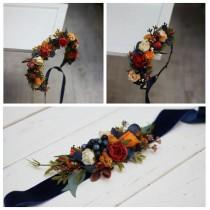wedding photo - Orange navy blue flower crown Fall wedding  Floral headpiece Bridal headband Flower girl crown