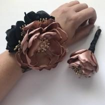 wedding photo - Rose Gold and Black - Wrist Corsage or Boutonnière - Fabric Flowers, Flower Alternative, Handmade Flowers, Satin Flowers, Pink Gold, Black