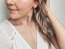 wedding photo - Pearl drop bridal earrings, boho bridal earrings, boho gold jewelry, simple wedding earrings, pearl drop earrings, chain earrings