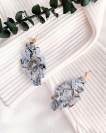 wedding photo - very elegant black and white marble earrings