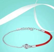 wedding photo - Lucky Red Thread bracelet-protector Friend/CZ bracelet-925 Sterling Silver Bracelet