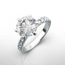 wedding photo - 2.00 carat diamond engagement ring, 14K white gold, wedding gift, anniversary for women, round diamond, Yellow gold ring