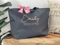 wedding photo - Bridesmaid Tote Bags, Personalized Bridesmaid Bags, Bridal Party Bridesmaid Gifts, Maid of Honor Tote, Custom Bridesmaid Tote Bags, Tote Bag