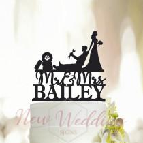 wedding photo - Personalized Mechanic Cake Topper,Auto Mechanic Wedding Cake Topper,Couple Cake Topper,Bride Dragging Groom Cake Topper,Wedding Topper A048