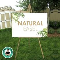 "wedding photo - Natural Easel . Large wood wedding sign floor stand . Display lightweight Foam Board, Canvas, Wood, Acrylic signs up to 24"" x 36"" and 8lbs"
