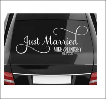 wedding photo - Just Married Decal Vinyl Decal for Vehicle Window Getaway Car Wedding Decal Fancy Script Vinyl for Wedding Personalized Various Sizes DIY