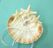 wedding photo - Beach Wedding Ring Bearer with Scallop Shells and Starfish