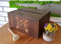 wedding photo - Personalized Wedding Card Box With Slot Wedding Bank Wooden Card Box Wedding Card Holder Wedding Money Box Keepsake Box Wedding Envelope Box