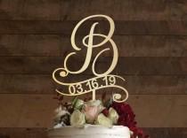 wedding photo - b cake topper, wedding cake topper, cake toppers for wedding, rustic cake topper, initial cake topper, monogram cake, cake topper b, #003
