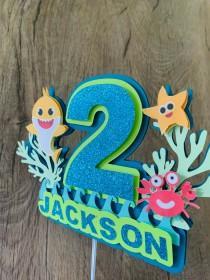 wedding photo - Baby Shark Cake Topper, Baby Shark Birthday, Shark Themed Birthday Decorations , Custom  Cake Topper,Baby Shark, Birthday Boy, Birthday Girl
