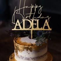 wedding photo - Personalized Happy Birthday Cake Topper , Happy birthday Party, Happy birthday, Cake Topper, Happy Birthday Topper,  Birthday Party