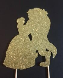 wedding photo - Beauty and the Beast cake topper,