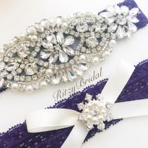 wedding photo - Wedding Garter, Bridal Garter, Wedding Garter Belt, Garters for wedding, Wedding Garter Purple, Wedding Garters, Purple Wedding Garter