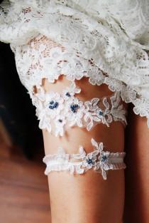 wedding photo - Bridal Garter Wedding Garter Set Navy Blue Lace Garters - Keepsake Garter Toss Garter Prom Garter Something Blue Garters
