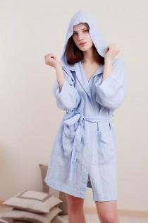 wedding photo - Linen Bath Robe Hooded Short MILDA /  Oversize  Longsleeve Gown/  Belted Night Gown/ Organic Spa Robe/ Linen Gift For Her