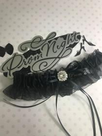 wedding photo - Black prom garter with a rhinestone,  Black prom garter,  Prom garters