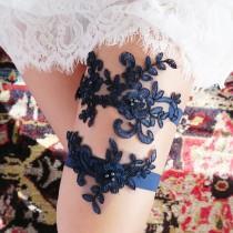 wedding photo - Wedding Garter Set Bridal Garter Set - Lace Garter Floral Garter Belt Navy Blue Garter - Rustic Boho Wedding Gift To Bride Bridal Shower
