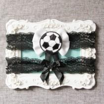 wedding photo - Wedding Garter Set Bridal Garter Set - Football Garter Set Soccer Garter Set Black White Lace Garters Keepsake Garter Toss Garter Sport