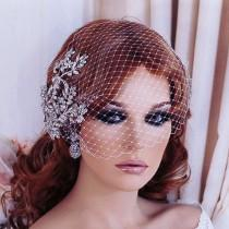 wedding photo - Wedding Headpiece, Bird Cage Veil, Bridal Birdcage Veil, Hair Comb, Crystal Hairpiece, Accessory Jewelry, Short Veil, Floral 1 Tier Blusher