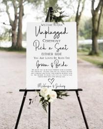 wedding photo - Unplugged Wedding Ceremony Sign, No Pictures, No Photos Please, Welcome Pick a Seat Sign Template 100% Editable Corjl PPW508