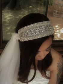 wedding photo - Vintage Styled Sparkly Bridal Headband in Ivory. Side Veil. Tons of BLING!