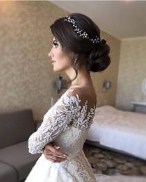 wedding photo - Rose gold Wedding head piece for bride Gold Bridal hair vine Wedding hair pieces Crystal headpiece Wedding hair accessories Crystal halo