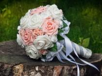 wedding photo - Bridal Artificial Wedding Bouquets Pink White Roses Bouquet
