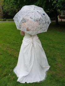 wedding photo - Wedding Umbrellas Clear Transparent with Lace Print Heart Roses Wedding in White