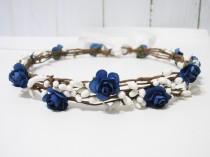 wedding photo - Wedding Floral Crown, Navy Blue Flower Headband, Blue Flower Headpiece, Wedding Headband, Bridesmaid Floral Crown, Flower Girl Floral Crown