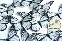 wedding photo - Edible butterflies, 12 black and white edible wafer paper monarch butterflies for cake decorating, cupcake decorating. butterflies for cakes