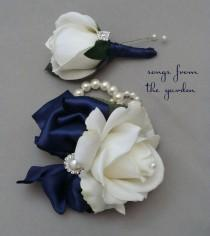 wedding photo - White Navy Real Touch Rose Wedding Boutonniere & Corsage with Rhinestone Pearl Accents - Mother of the Bride Prom Homecoming Corsage