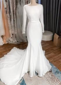 wedding photo - Minimalist bridal style with long sleeves/ Crepe mermaid wedding dress