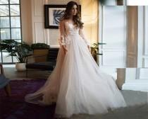 wedding photo - Bohemian Wedding Dress - Beach Lace Wedding Dress Boho - Custom Plus Size Bridal Gown with Sleeves - Scoop Back Backless Bride Dress