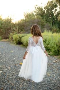 wedding photo - Bohemian Boho Flower girl dress , Long sleeve flower girl dress, Tulle flower girl dress, Rustic flower girl dress, Boho flower girl dress