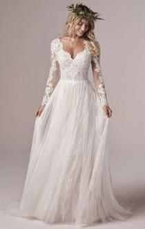 wedding photo - Lace Design Long Sleeve Floor Length Bridal Gown, Floor Length Wedding Dress