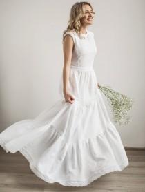 wedding photo - Boho Wedding Dress, Linen Wedding Dress, Modest Wedding Dress, Simple Wedding Dress, Lace Wedding Dress, Linen Clothing, Beach Wedding Dress