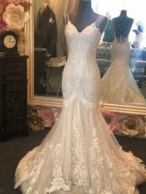 wedding photo - Custom made illusion V neck strap sheath wedding dress with low back
