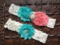 wedding photo - Coral Wedding Garter, Coral Wedding Garter Set, Lace Wedding Garter, Coral Turquoise Garter, Coral Garter, Turquoise Bridal Garter