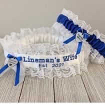 wedding photo - Lineman's Garter, Est. 2021, Lineman's Wedding Garter Set, Gift for Lineman, Lineman's Wife Garter, Something Blue for Wedding, Bride's Gift