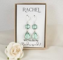 wedding photo - Long Green Silver Earrings - Sage Green Wedding - Prasiolite Earrings - Bridesmaid Earrings - Green Wedding Jewelry - Green Earrings