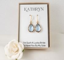 wedding photo - Light Blue Bridesmaid Earrings - Dusty Blue Earrings - Blue Teardrop Earrings - Blue Wedding Jewelry - Bridesmaid Jewelry - Bridesmaid Gift