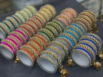 wedding photo - Indian gold bangles with different color bangles, Wedding bangles, bangle set, Festive color bangles