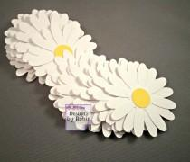 wedding photo - 20  Daisy Confetti Table Scatter Flowers, Wedding Flower Confetti, White and Yellow Daisy Baby Shower Decorations