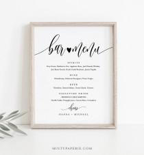 wedding photo - Bar Menu Sign, Editable Wedding Bar Menu Template, Alcohol Drinks Menu, Modern Calligraphy, Instant Download, Templett 8x10, 18x24 #008-19S