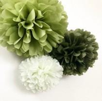 wedding photo - GARDEN SAGE tissue paper flower pompoms light green celadon olive moss army decorations baby boy shower first birthday photo party prop