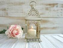 wedding photo - 2 Wedding lanterns Vintage Moroccan Lantern Shabby chic Lantern Rustic Wedding Lighting Vintage Home Decor Wedding Centerpiece Distressed