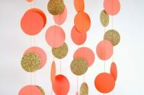 wedding photo - Orange Party, Paper Garland in Orange, Coral, Tangerine and Gold, Double-Sided, Bridal Shower, Party Decorations, Birthday Decoration