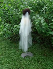 wedding photo - Draped Veil, Drape Veil, 2 Tier Veil, Bridal Veil, H3060