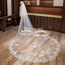 wedding photo - White Wedding Veil with Embroidery-White Bridal Veil-Tulle Veil-Long Veil-White Wedding Veil with comb -Cathedral White Wedding Veil